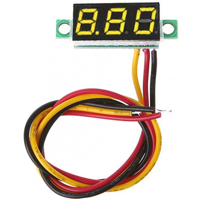 0.28 inch 0-100V Three Wire DC Voltmeter Yellow