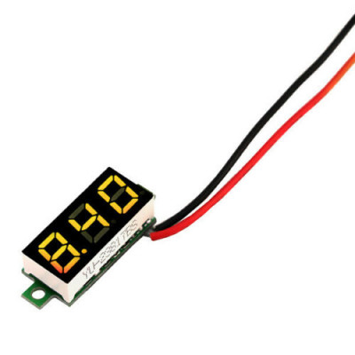 0.28 inch 3.5-30V Two Wire DC Voltmeter Yellow