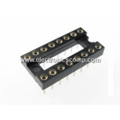 16 Pin Machined IC Base/Socket (Round Holes)
