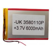 3.7V 6000mAH (Lithium Polymer) Lipo Rechargeable Battery Model UK-3580110