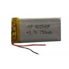 3.7V 750mAH (Lithium Polymer) Lipo Rechargeable Battery Model KP-402540