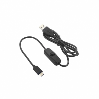 5V 3A USB to Type C Cable With ON/OFF Switch Power Control for Raspberry Pi 4B (1 Meter Black)