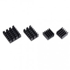 Black 4 in 1 Heat Sink Set Aluminum for Raspberry Pi 4 Model B