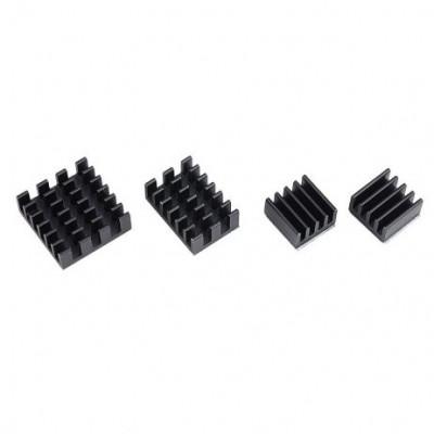 Black 4 in 1 Heat Sink Set Aluminum for Raspberry Pi 4 Model B