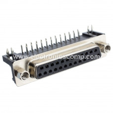 DB25 Female Right Angle Connector - 25 Pin - PCB Mount