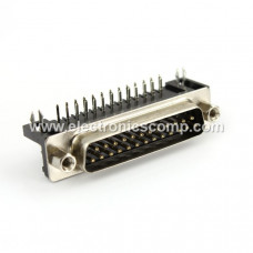 DB25 Male Right Angle Connector - 25 Pin - PCB Mount