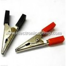 DC Crocodile Alligator Clip Black and Red Pair