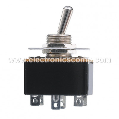 15 Amp DPDT ON-OFF-ON (Center Off) Toggle Switch - Lock Action