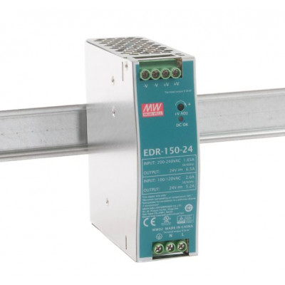 EDR-150-24 Mean well SMPS - 24V 6.5A 156W Din Rail Metal Power Supply