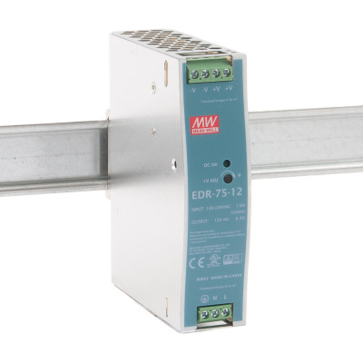 EDR-75-12 Mean well SMPS - 12V 6.3A 75.6W Din Rail Metal Power Supply