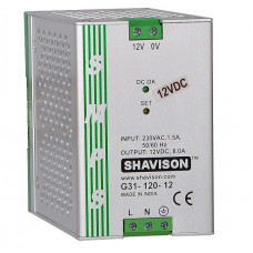 G31-120-12 Shavison SMPS - 12V 8A - 96W DIN Rail Mountable Metal Power Supply