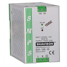 G31-120-15 Shavison SMPS - 15V 8A - 120W  DIN Rail Mountable Metal Power Supply