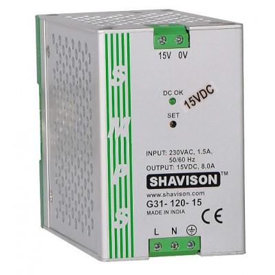 G31-120-15 Shavison SMPS - 15V 8A - 120W  DIN Rail Mountable Metal Power Supply