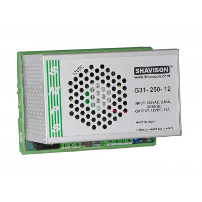 G31-250-12 Shavison SMPS - 12V 15A - 180W DIN Rail Mountable Metal Power Supply