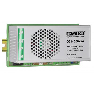 G31-500-24 Shavison SMPS - 24V 20A - 480W DIN Rail Mountable Metal Power Supply