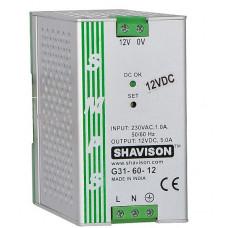 G31-60-12 Shavison SMPS - 12V 5A - 60W DIN Rail Mountable Metal Power Supply