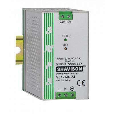 G31-60-24 Shavison SMPS - 24V 2.5A - 60W DIN Rail Mountable Metal Power Supply