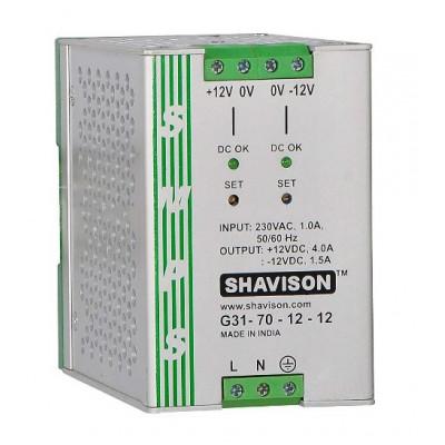 G31-70-12-12 Shavison SMPS (+12V 4A 48W) and (-12V 1.5A 18W) Dual Output DIN Rail Mountable Metal Power Supply