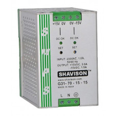 G31-70-15-15 Shavison SMPS (+15V 3A 45W) and (-15V 1.5A 22.5W) Dual Output DIN Rail Mountable Metal Power Supply