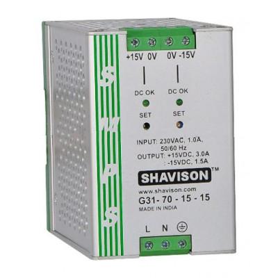 G31-70-15-15 Shavison SMPS (+15V 3A 45W) and (-15V 1.5A 22.5W) Dual Output DIN Rail Mountable Metal Power Supply