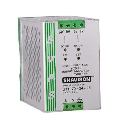 G31-70-24-05 Shavison SMPS (24V 2A 48W) and (5V 1.5A 7.5W) Dual Output DIN Rail Mountable Metal Power Supply