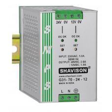 G31-70-24-12 Shavison SMPS (24V 2A 48W) and (12V 1.5A 18W) Dual Output DIN Rail Mountable Metal Power Supply