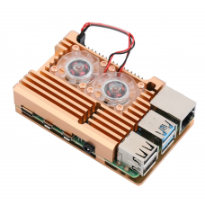 Gold Aluminum Heat Sink Case with Double Fans for Raspberry Pi 4 Model B