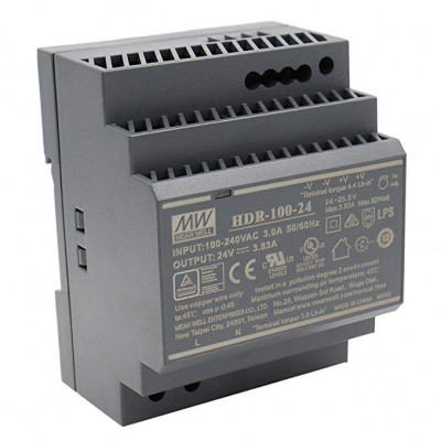 HDR-100-24 Mean well SMPS - 24V 3.83A 92W Din Rail Metal Power Supply