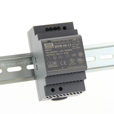 HDR-60-12 Mean well SMPS - 12V 4.5A 54W Din Rail Metal Power Supply