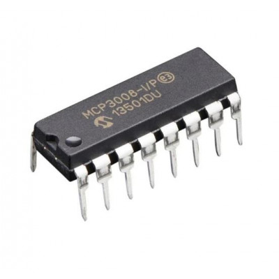 MCP3008 8-Channel 10-Bit A/D Converter with SPI Interface IC DIP-16 Package