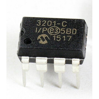 MCP3201 12-Bit A/D Converter (ADC) with SPI Interface IC DIP-8 Package