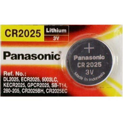 Panasonic CR2025 3V 165mAh Lithium Coin Cell Battery