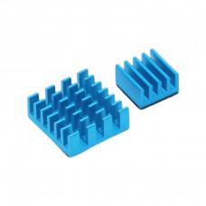 Set of Blue Aluminum Heatsink for Raspberry Pi